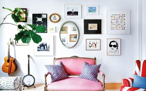 rdeco_domino artsy style gimme-schelter-blue-and-brown-and-green-and-pink-and-purple-and-white-and-wood-living-room-wall-gallery